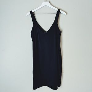 WAYF Minimalist Black Silk Slip Dress LBD 8 M